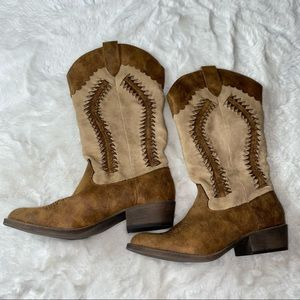 Coconuts Cowgirl Boots Rangler 9M Beige & Tan